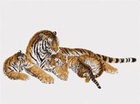 Набор для вышивки крестом Тигрица с тигрятами