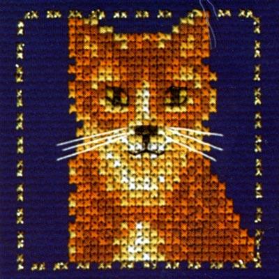 вышивки крестом Серый кот