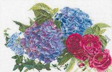 """Набор для вышивки крестом Набор для вышивания """"Гортензии и розы"""""""