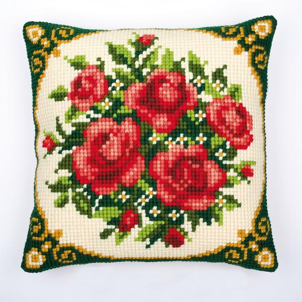 Вышивка подушки крестом розы
