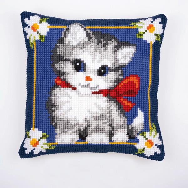 Вышивка крестом подушка котенок 19