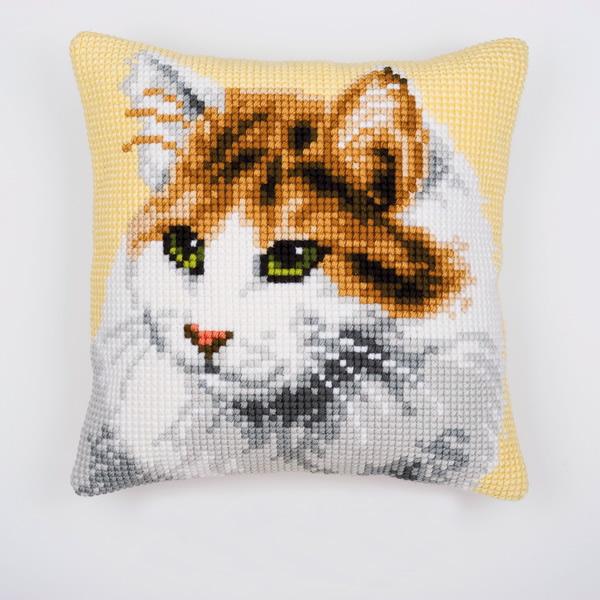 Вышивка крестом подушка котенок 37