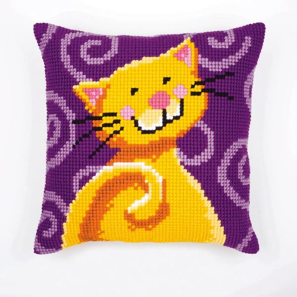 Вышивка крестом подушка котенок 62