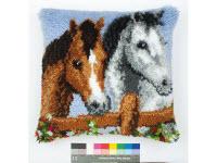"""Набор для вышивки крестом Подушка """"Лошади"""" ковровая техника"""