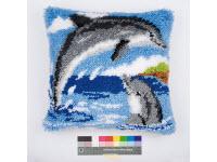 """Набор для вышивки крестом Подушка """"Дельфины"""" ковровая техника"""
