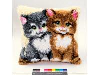 """Набор для вышивки крестом Подушка """"Два котенка"""" ковровая техника"""