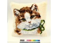 """Набор для вышивки крестом Подушка """"Кот с зеленым бантом"""" ковровая техника"""