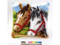 """Набор для вышивки крестом Подушка """"Лошади II"""" ковровая техника"""