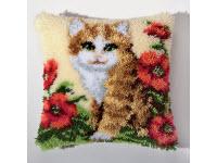 """Набор для вышивки крестом Подушка """"Кошка в цветах"""" ковровая техника"""