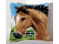 """Набор для вышивки крестом Подушка """"Конь"""" ковровая техника"""