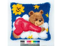 """Набор для вышивки крестом Подушка """"Медвежонок в красном"""" ковровая техника"""