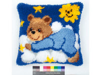 """Набор для вышивки крестом Подушка """"Медвежонок в синем"""" ковровая техника"""