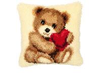 """Набор для вышивки крестом Подушка """"Медвежонок и сердце"""" ковровая техника"""