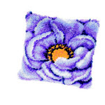 """Набор для вышивки крестом Подушка """"Сине-сиреневые цветы"""" ковровая техника"""