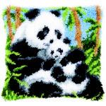 """Набор для вышивки крестом Подушка """"Панда с детенышем"""" ковровая техника"""