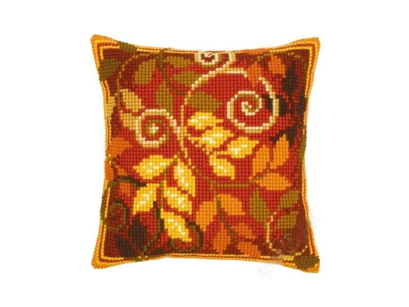 Осенние листья вышивка подушка 23