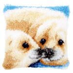 """Набор для вышивки крестом Подушка """"Морские котики"""" ковровая техника"""