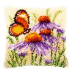 """Набор для вышивки крестом Подушка """"Полевые цветы и бабочка"""" ковровая техника"""