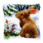 """Подушка """"Кролик в снегу"""" ковровая техника"""