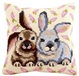 """Набор для вышивки крестом Подушка для вышивания """"Кролики"""""""