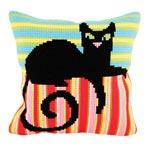"""Набор для вышивки крестом Подушка для вышивания """"Черная кошка"""""""