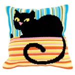"""Набор для вышивки крестом Подушка для вышивания """"Черный кот"""""""