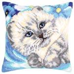 """Набор для вышивки крестом Подушка для вышивания """"Белый котенок"""""""