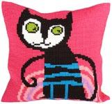 """Набор для вышивки крестом Подушка для вышивания """"Забавный кот"""""""