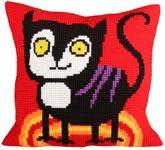 """Набор для вышивки крестом Подушка для вышивания """"Смешной кот"""""""