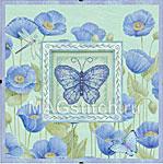 Набор для вышивки крестом Blue Poppies and Butterfly - Голубые маки и бабочки
