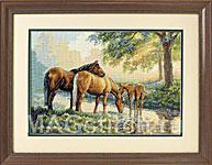 Набор для вышивки крестом Horses by a Stream - Лошади у ручья