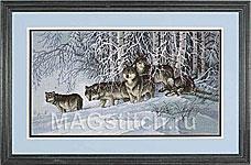 Набор для вышивки крестом Winter s Lace - Волки в зимнем лесу