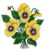 Набор для вышивки крестом Желтые анютки