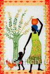 Набор для вышивки крестом Mother Child and Chicken - Мать, дитя и курочка