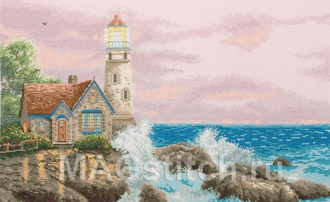 Море маяк вышивка крестом