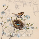 Набор для вышивки крестом Wren And Magnolia - Крапивник и магнолия