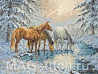 Набор для вышивки крестом Лошади, освещенные солнцем, у ручья - Sunlit Stream Horses
