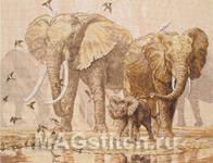 Набор для вышивки крестом African Elephants And Namaqua Doves - Африканские слоны и капские горлицы