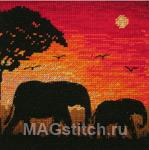 Набор для вышивки крестом Elephant Silhouette - Силуэты слонов