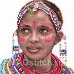 Набор для вышивки крестом Masai woman portrait - Портрет женщины из племени масаи