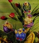 Набор для вышивки крестом Пасхальные цыплята (4 дизайна на пластиковой канве)