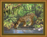 Набор для вышивки крестом Леопард у воды