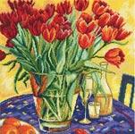 Набор для вышивки крестом Тюльпаны на столе - Tulips on the table