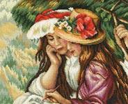 Набор для вышивки крестом За рисованием - Drawing girls