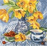 Набор для вышивки крестом Натюрморт с тюльпанами - Still life with tulips