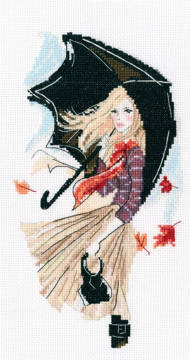 Набор вышивки крестом девушка 968