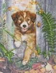 Набор для вышивки крестом Любопытный щенок - Curious puppy