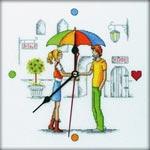 Набор для вышивки крестом Встреча под зонтом - Tet-a-Tet Under the Umbrella
