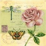 Набор для вышивки крестом Почтовая открытка - Роза - Postcard - Rose