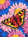 Бесплатная схема для вышивки крестом Бабочка и ромашки